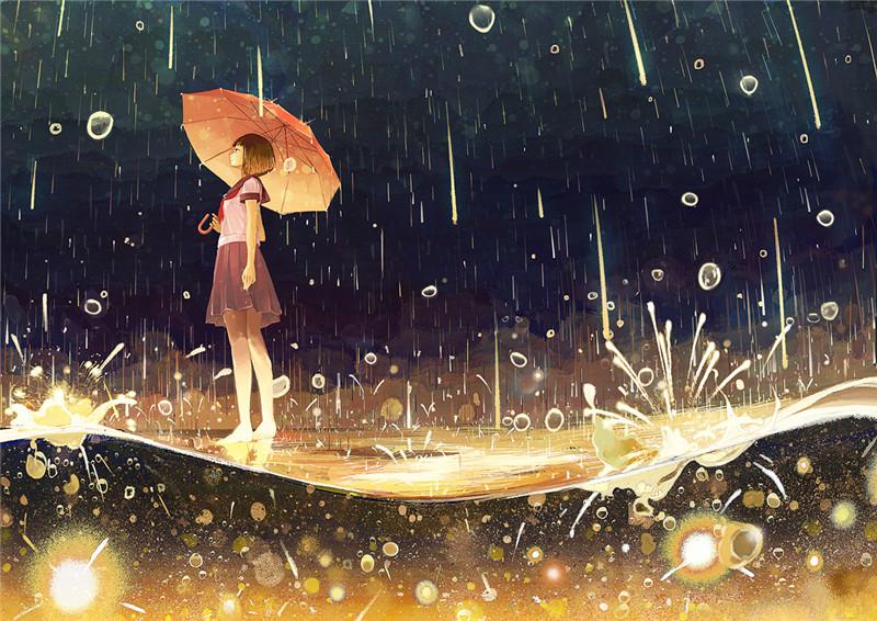雨后的场景_动漫二次元雨中背景/打伞少女图片图包 – ACG图包网