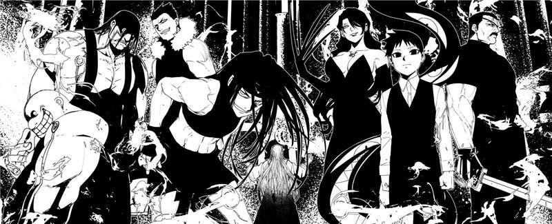 日本画师岩本英利黑白稿黑手党风格气场作品图集原画插画图片素材