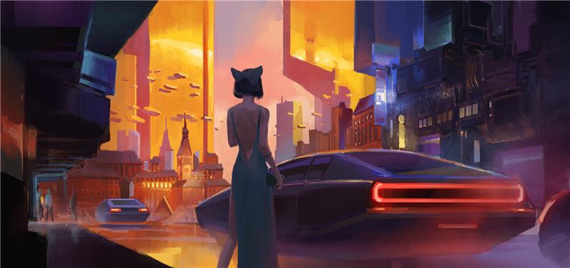 加拿大艺术家Frank Hong未来城市大厦夜景概念CG原画集