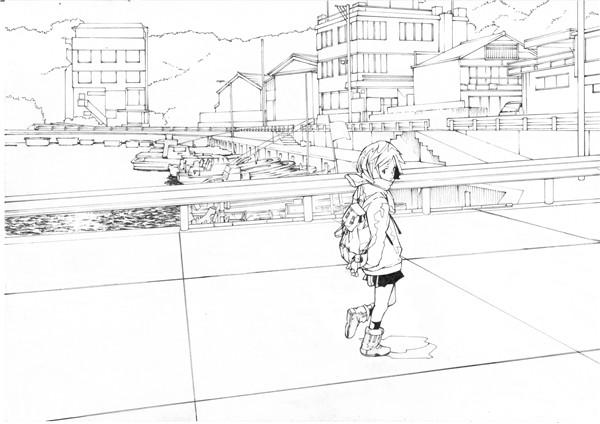 日系动漫原画插画线稿设计临摹图片素材 美术绘画参考图例资料