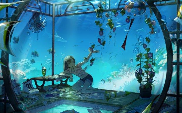 动漫二次元水中少女背景光影深海海底高清壁纸图包15.5G合集