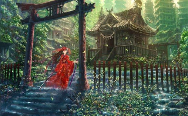 [1G]动漫日系神社鸟居元素场景图集原画插画壁纸CG图片素材 美术资料