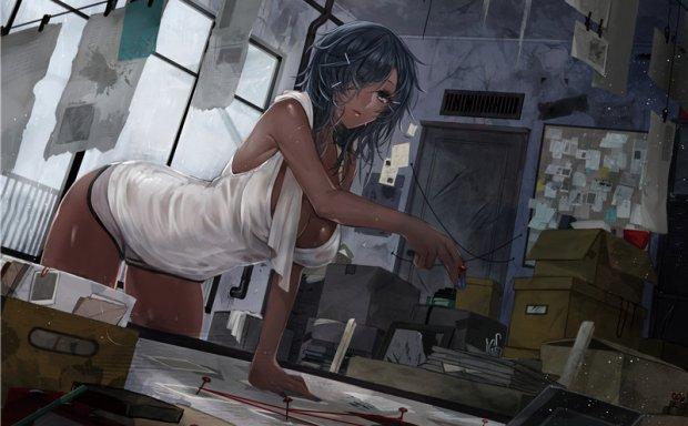 动漫二次元插画褐色黑皮肤少女角色图集原画壁纸图片素材美术资料