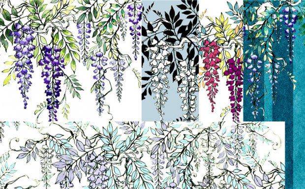 美术插画和风素材和柄日系图案花纹纹路草木元素绘画设计图片素材