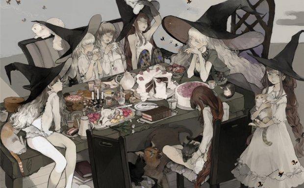动漫尖帽子巫师帽魔女帽少女原画插画图集壁纸图片素材 美术资料