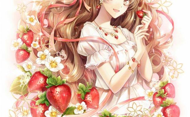 动漫二次元插画可爱草莓少女图案元素原画插画壁纸 美术图片素材