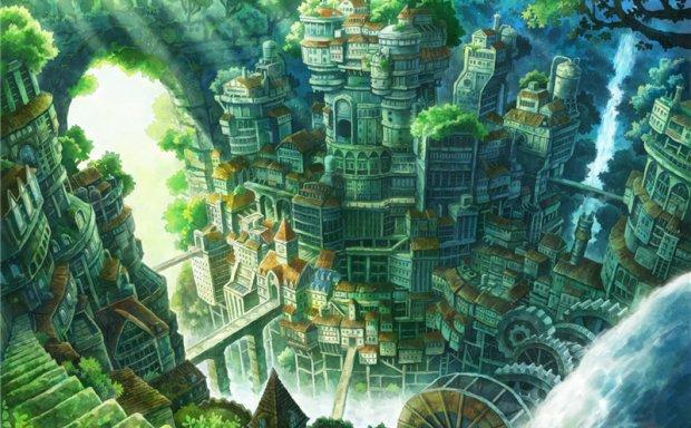 日系风格幻想都市城市建筑背景场景主题图集