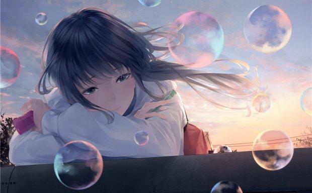 日系动漫二次元插画唯美吹泡泡少女主题图集原画壁纸