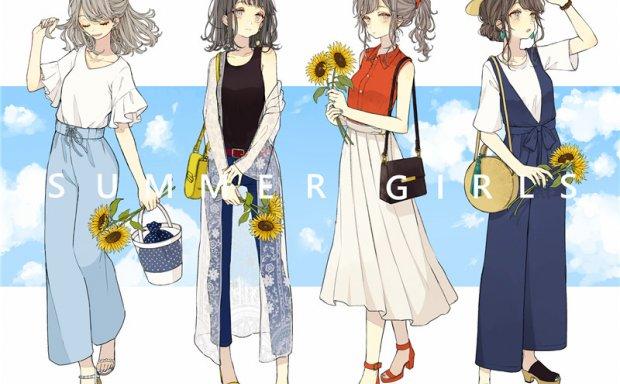 各类女生男生时尚穿搭绘画设计参考美术图片素材