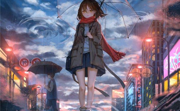 动漫插画打伞少女透明雨伞元素图集