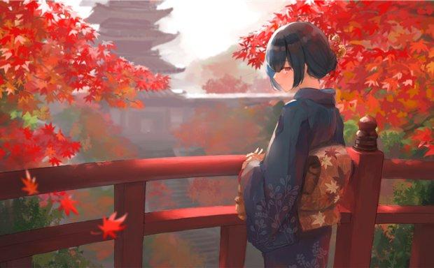 动漫日系插画秋天场景落叶背景图集壁纸