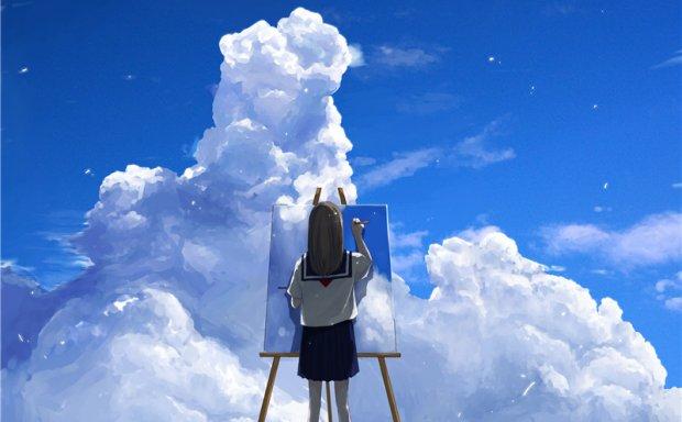 日系唯美积雨云的描绘插画素材临摹参考资料