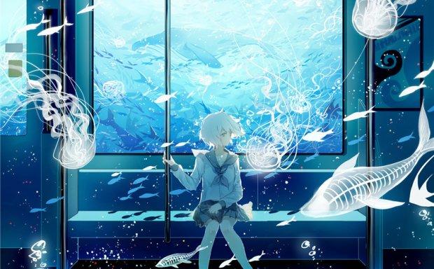 二次元日系插画水族馆场景图集插画壁纸绘画图片素材